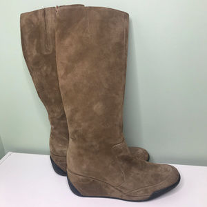 VIA SPIGA Brown Suede Wedge Tall Zippered Boots 8